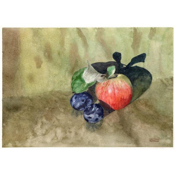Натюрморт с яблоком и сливами