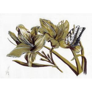Лилии и бабочка
