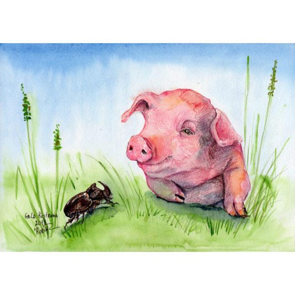 Поросенок и жук-носорог