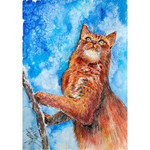 Рыжий кот и снег