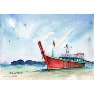Красная лодка акварель на заказ