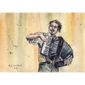 Уличный музыкант - акварель
