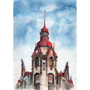 Башня счасами акварель