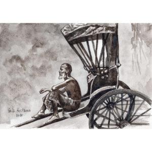 Рикша акварель