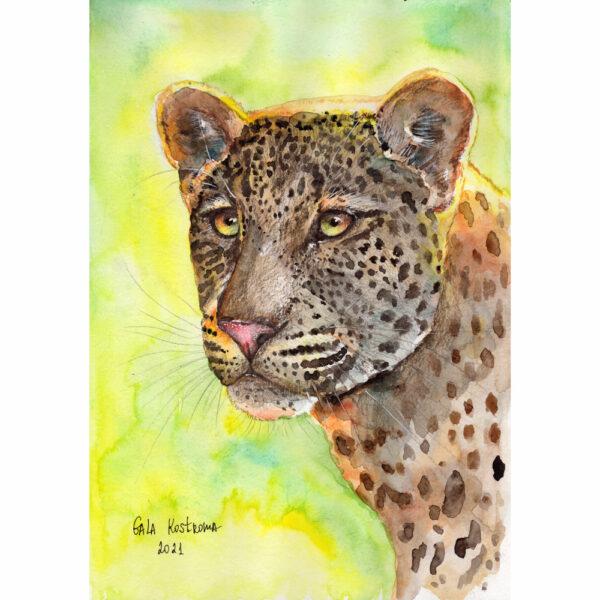 Леопард акварель