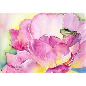 Лягушка на цветке